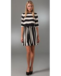 Alice + Olivia | Black Striped Emmie Dress | Lyst