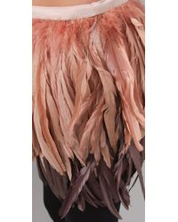 Alice + Olivia - Pink Francesca Feather Skirt - Lyst