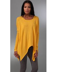 Catherine Malandrino | Yellow Handkerchief-hem Pointelle-knit Top | Lyst