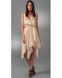 Halston | Natural Handkerchief Dress | Lyst