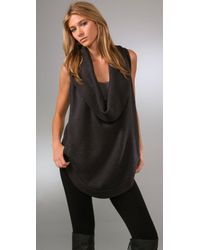 HHH by Haute Hippie | Gray Cowl Sweater Vest | Lyst