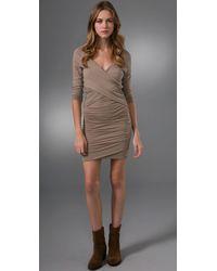 James Perse | Gray Crisscross Draped Dress | Lyst
