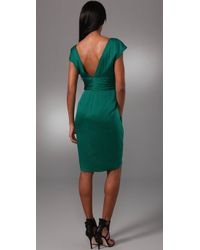 Lela Rose - Green V Neck Dress with Tulip Skirt - Lyst