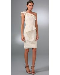 Lela Rose | White One-shoulder Silk-blend Dress | Lyst