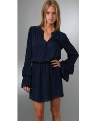 Parker | Blue Double Flared Sleeve Dress | Lyst
