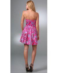 Rebecca Taylor - Purple Strapless Dress - Lyst