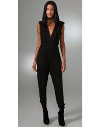T-bags | Black Deep V Jumpsuit | Lyst