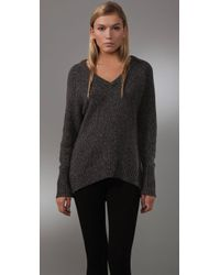 T By Alexander Wang | Gray V Neck Grandpa Sweater | Lyst