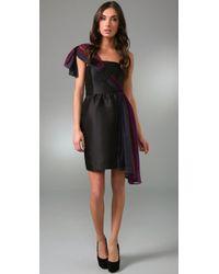 Thread Social | Black One Shoulder Ombre Dress | Lyst