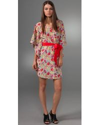 Thread Social | Pink Floral Dress with Sash | Lyst