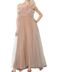 Valentino - Natural One Shoulder Long Tulle Dress - Lyst