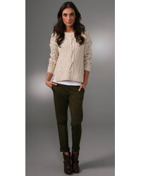 Vince - White Cable-knit Wool-blend Cropped Sweater - Lyst