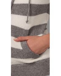 Vince - Gray Rugby Stripe Cashmere Hoodie - Lyst