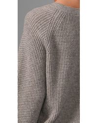 Vince | Gray Cropped Thermal Sweater | Lyst