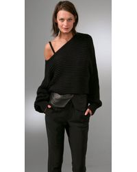 Alexander Wang | Black Asymmetrical Cropped Pullover Sweater | Lyst