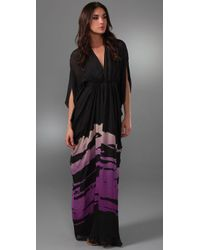 Issa   Purple Deep V Long Caftan Dress   Lyst