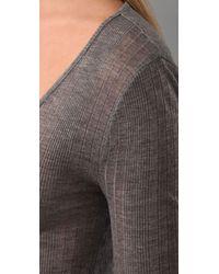 T By Alexander Wang - Gray Tencel Variegated Rib Hidden Placket Long Sleeve T Dress - Lyst