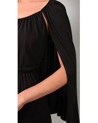 Halston - Black Short Cape Dress - Lyst