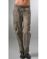 James Perse - Gray Rolled Cargo Pants - Lyst