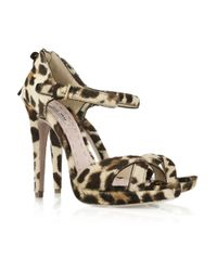 Miu Miu | Multicolor Leopard-print Calf Hair Sandals | Lyst