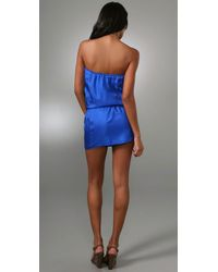 Tibi - Blue Lovebirds Strapless Dress - Lyst