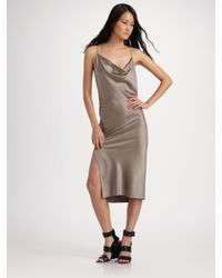Alexander Wang | Brown Folded Back Slip Dress | Lyst