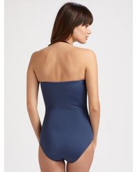 Badgley Mischka | Blue Bead-embellished One-piece Swimsuit | Lyst
