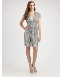 Badgley Mischka | Metallic Sequin V-neck Cocktail Dress | Lyst