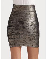 BCBGMAXAZRIA | Metallic Printed Foil Banded Skirt | Lyst