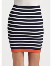 BCBGMAXAZRIA - Blue Stretch Striped Tube Skirt - Lyst