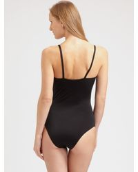 Burberry Brit - Black Henley One-piece Swimsuit - Lyst
