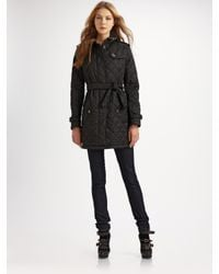 Burberry Brit | Black Quilted Trench Jacket | Lyst