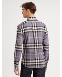 Burberry Brit   Purple Exploded-check Sportshirt for Men   Lyst