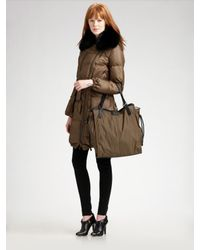 Burberry | Green Fox-collar Down Coat | Lyst