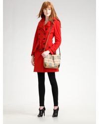 Burberry | Red Taffeta Trenchcoat | Lyst