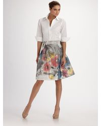 Carolina Herrera | Multicolor Floral Print Taffeta Party Skirt | Lyst