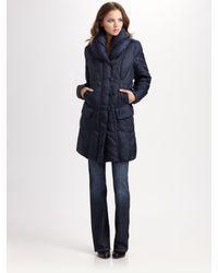 Creenstone | Blue Pillow Collar Puffer Coat | Lyst