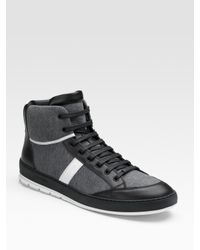 Dior Homme | Gray Jersey & Leather High-top Sneakers for Men | Lyst