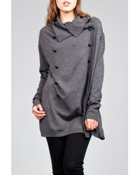 Farhi by Nicole Farhi | Gray Military Knit Jacket in Charcoal | Lyst