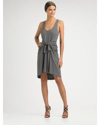 Halston | Gray Tie Waist Tank Dress | Lyst