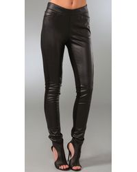 Halston | Black Faux Leather & Jersey Pants | Lyst