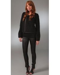 Halston | Black Faux Leather & Jersey Pants | Lyst