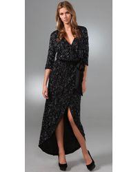 Halston - Black Kimono Wrap Long Dress - Lyst