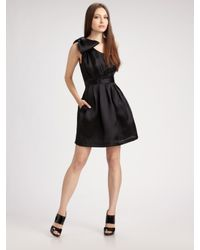 Kara Janx - Black One-shoulder Silk Cocktail Dress - Lyst