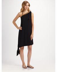 La Perla | Black Silk One-shoulder Coverup | Lyst