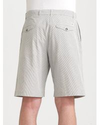 Lacoste - Gray Seersucker Bermuda Shorts for Men - Lyst