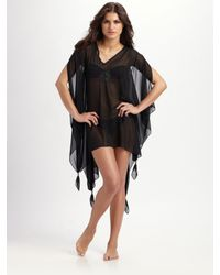 Mara Hoffman | Black Hooded Silk Chiffon Coverup | Lyst