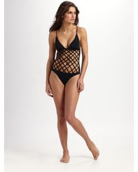 Mara Hoffman | Black Lattice One-piece Swimsuit | Lyst
