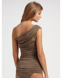 Michael Kors | Brown Draped One-piece Swimsuit | Lyst