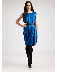 Ports 1961 | Blue Silk Charmeuse Bubble Dress | Lyst